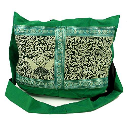 Guru-Shop Sadhu Bag, Schulterbeutel, Hippie Tasche - Smaragdgrün, Herren/Damen, Baumwolle, Size:One Size, 30x35x10 cm, Bunter Stoffbeutel
