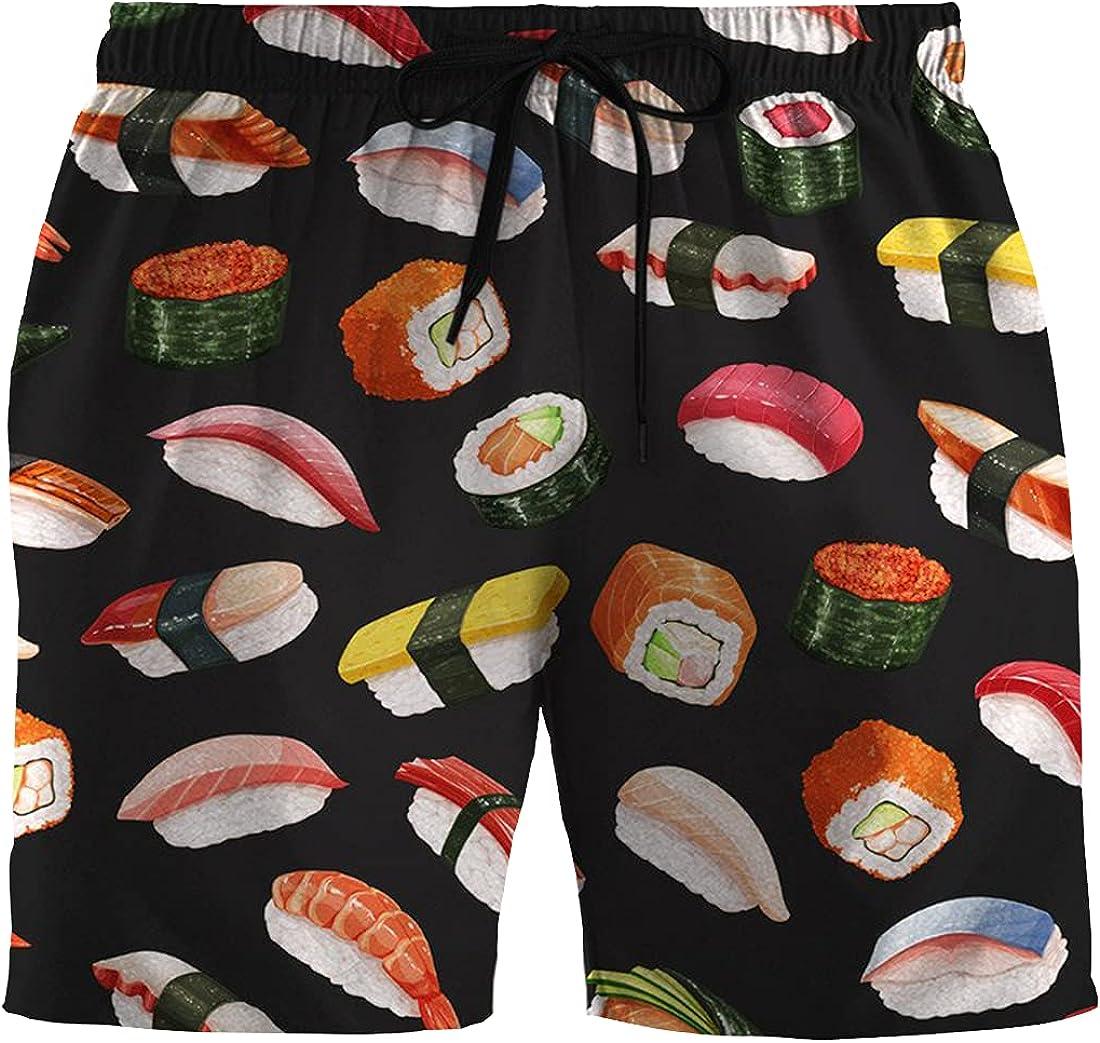 Foodie Mens Swim Trunks - Color Swimming Trunks for Men - Drawstring Beach Shorts, Mens Swim Shorts Set 106