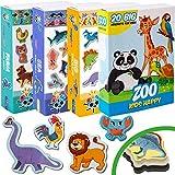 Magdum 4 Sets Happy Zoo+ Granja+ Marinos Animales+ Dinosaur Imanes de Nevera (71 Piezas) para Niño -Magnético Educational Aprender Juguete Bebé 3 años- Cocina Imán- CUMPLEAÑOS Navidad Regalo Conjunto