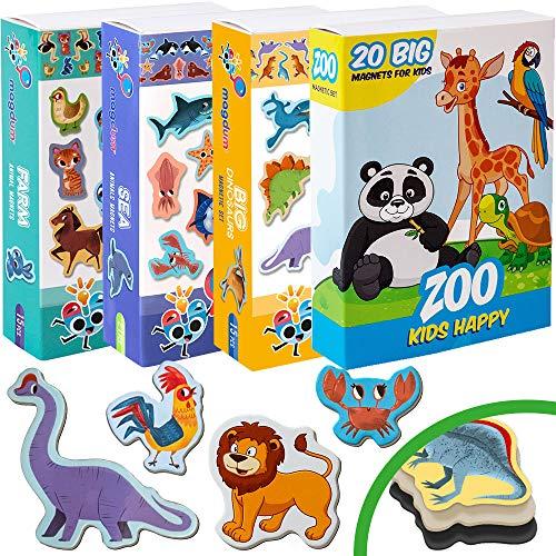 Magdum 4 Sets Happy Zoo+ Fattoria+ MARINI Animali+ Dinosaurs Frigo Calamite (71 PZ) per Bambino Ragazzo- Magnetico Giocattoli E