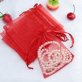 10 x 12cm MagiDeal 10pcs Pochette Bijoux Organza Sachet Cadeau pour Favor Mariage Rouge