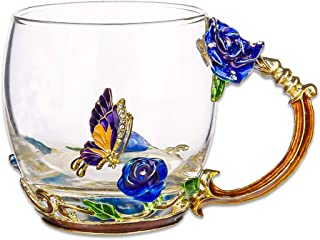 COAWG Flower Glass Tea Mug, 11oz Lead Free Handmade Butterfly and Blue Rose Glass Cup with Handle, Unique Personalized Birthday Gift Ideas for Women Mother Grandma Teachers Hot Beverages(Short Blue)