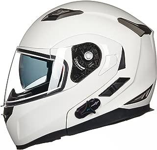 ILM Bluetooth Integrated Modular Flip up Full Face Motorcycle Helmet Sun Shield Mp3 Intercom (M, WHITE)