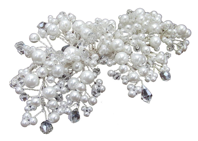 離れて法廷儀式haelm019svnwt ヘアアクセサリー 髪飾り (リトルムーン) Blanc Beaute コサージュクリップ ルクレア ホワイト