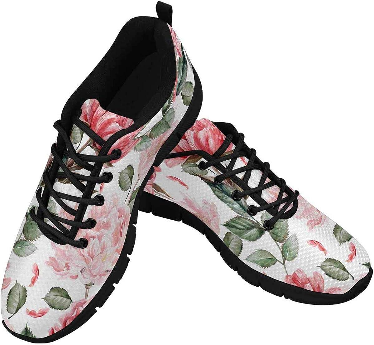 INTERESTPRINT Watercolor Peony Red Flowers Women's Tennis Running Shoes Lightweight Sneakers