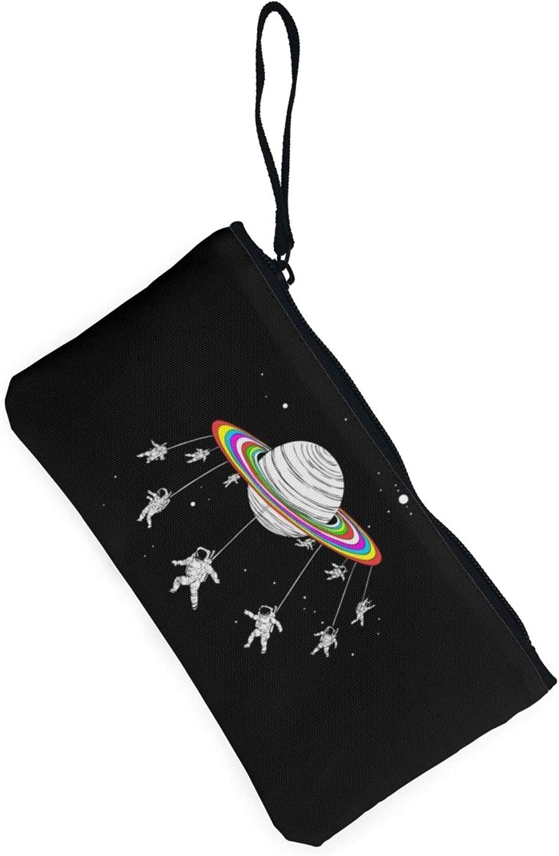 AORRUAM Astronauts Planet Space Canvas Coin Purse,Canvas Zipper Pencil Cases,Canvas Change Purse Pouch Mini Wallet Coin Bag