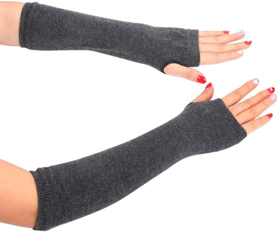 Warm Knit Wool Fingerless Gloves Winter Knitted Half Finger Cuff Women Winter Long Mittens Fingerless Gloves Long Women S10 - (Color: GY)