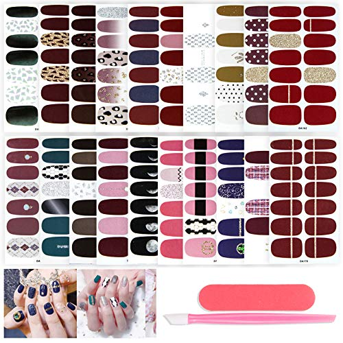 20 Sheets Solid Color Nail Polish Strickers Nail Strips Self-Adhesive Fake Nails Art Decal Design Nail Wraps Manicure Set with Nail File and Nail Cuticle Pusher for Women Girls