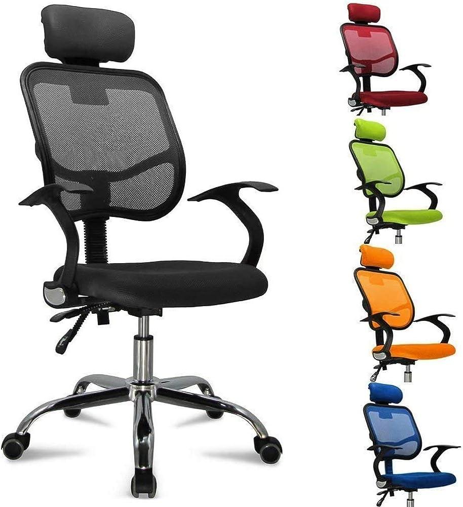 Femor ,sedia da ufficio girevole, con rotelle, sedia con poggiatesta anti cervicale, schienale traspirante CYL-593