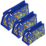 Storite Set of 3 Peacock Pattern Synthetic Multipurpose Travelling Jewellery Makeup Toiletry Shaving Medicine Travel Pouch - Blue