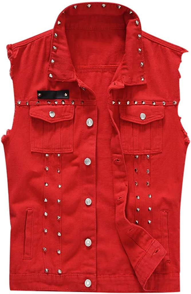 GREFER-Mens Mens Denim Vests Personality Plus Size Hole Button Down Shirts Vintage Rivet Sleeveless Jacket