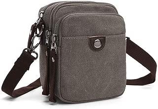 Multifunction Canvas Mini Sling Shoulder Messenger Bag Waist Bag for Men (Color : Gray, Size : L12.5*W8*H16.5CM)