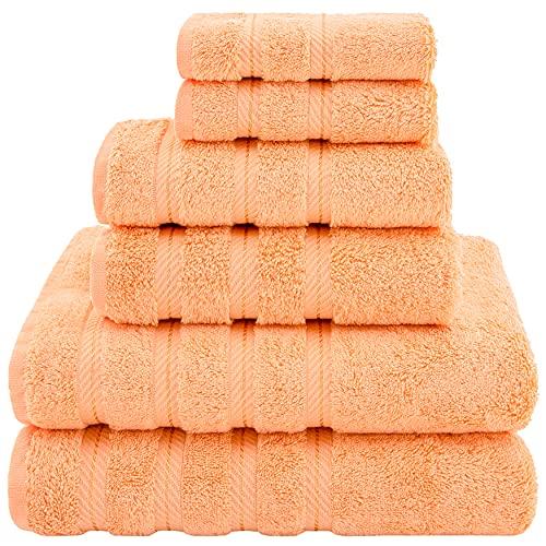 American Soft Linen Towel Set 2 Bath Towels 2 Hand Towels 2 Washcloths Super Soft Absorbent 100% Turkish Cotton Towels for Bathroom and Kitchen Shower Towel [Worth $72.95] Malibu Peach