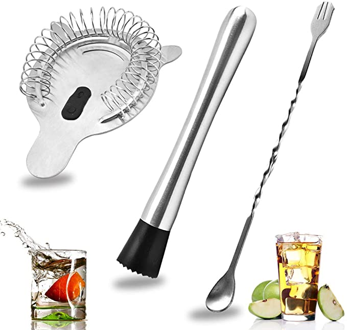 340 opinioni per SENHAI Acier inoxydable Cocktail Muddler, Cuillère À Spirale & 4-broches Filtre