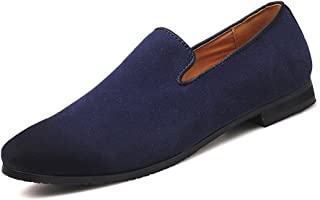 MoreDays Mens Slip on Loafers PU Leather Noble Comfortable Pure Color Fashion Driving Boat Moccasins Casual