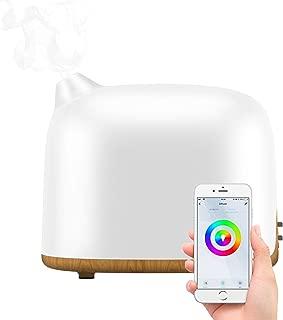 [令和最新版]スマートアロマディフューザー MILcea スマホ連動 超音波アロマ加湿器 ミスト2段階調節 14色LEDライト変換 時間設定 静音 省エネ 空焚き防止機能付き Amazon Echo/Google Home対応 乾燥/花粉症対策 300ML 木目調