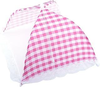 折りたたみ式食品カバー 食べ物カバー 果物カバー ポップアップドームメッシュフライワスプ昆虫ネットBBQ キッチン用品(ピンク)