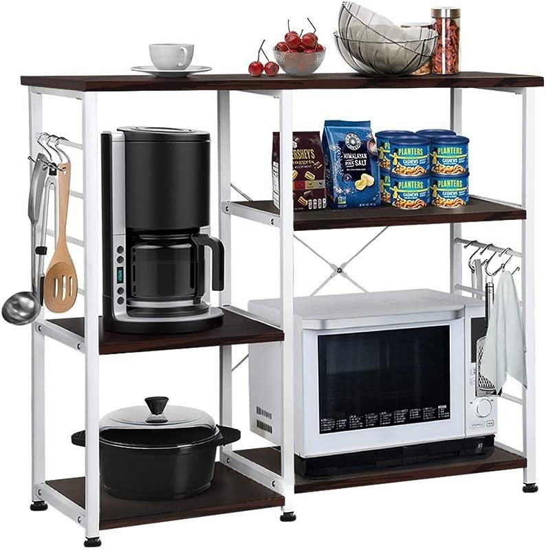 Yaheetech 35 5inch Microwave Cart Kitchen Baker S Rack Microwave Oven Workstation Shelf Standing Spice Storage Cart 3 Tier Black Brown