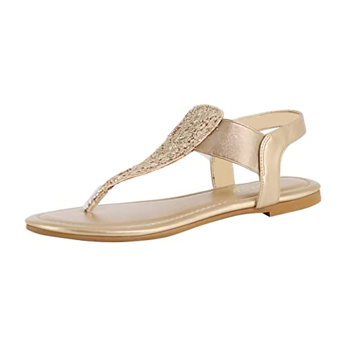 8b43f1abf6ea Eunicer Women s Sparkling Thong Elastic Strap Summer Flat Sandals