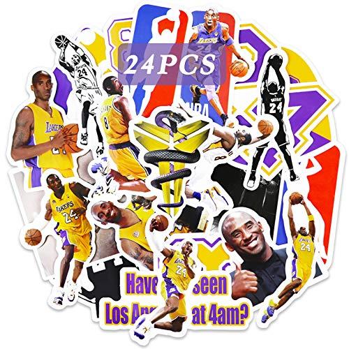 Realcome Kobe-Aufkleber, Lakers Aufkleber, Basketball, für Jungen, Vinyl, Laptop, Skateboard, Computer, Dekoration, 24 Stück