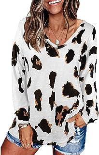 Top da donna con motivo leopardato, scollo a V, a maniche lunghe, casual, basic