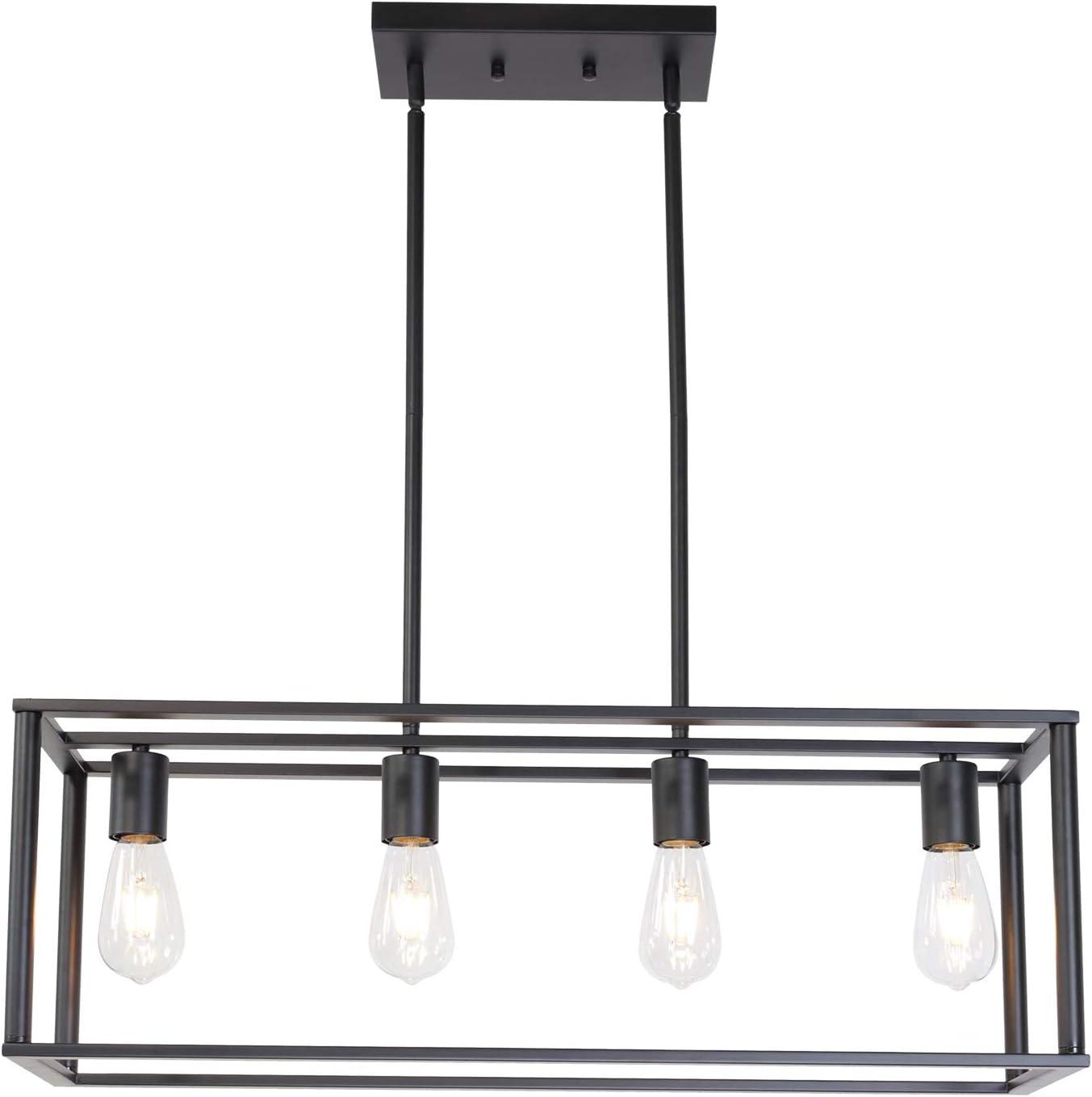 BONLICHT Kitchen Island Dining Room Pendant Lighting 4 Light Industrial Vintage Open Frame Rectangle Chandeliers Modern Black Linear Cage Ceiling Light Fixture for Farmhouse Cafe Bar Restaurant