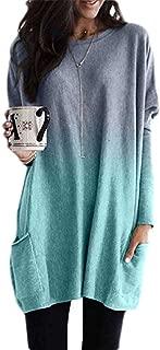 Macondoo Women Oversized Long-Sleeve Tops Blouse Ombre Casual T-Shirt