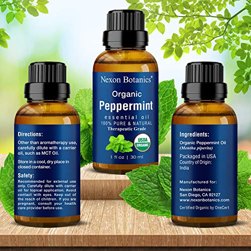 Organic Peppermint Essential Oil 30 ml - USDA Certified Pure Natural Essential Peppermint Oil - Menthol from Mentha Piperita - Fresh Mint Oil for Aromatherapy and DYI Skin Care Recipes Nexon Botanics