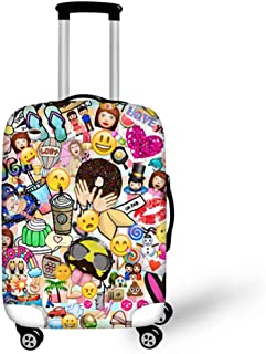 INSTANTARTS Cute Emoji Travel Luggage Cover Spandex Suitcase Protector Washable Baggage Covers L