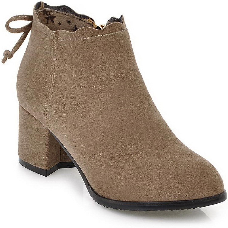 AdeeSu Womens Ruffles Ribbons Square Heels Urethane Boots SXC02581