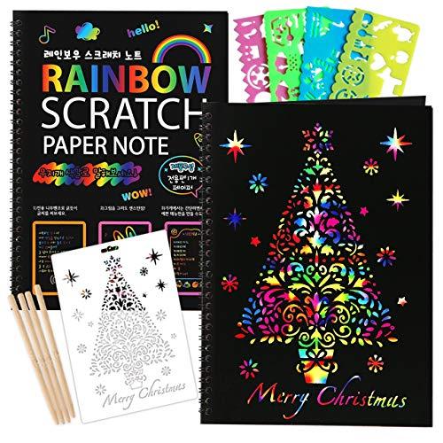 ZMLMScratchPaperArtNotebook:2PackRainbowScratchOffCraftPaintingBookPadSuppliesKitsforAge4-14KidsGirlsBoysTeenToyfor BirthdayPartyFavor|Christmas|ColoringFun|DrawingGift
