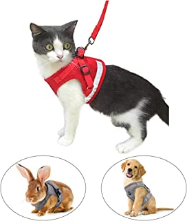 Kamots Beauty Escape Proof Dog Cat Harness and Leash with Reflective Strap Soft Mesh Adjustable Vest with Lead for Kitten Puppy Rabbit Small Pet Walking