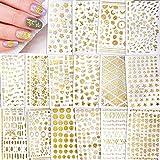 Qpout 850 + Designs Adesivi per unghie assortiti, decalcomanie per unghie con glitter oro, Adesivi per decorazioni per unghie autoadesive 3D con piume di farfalla tribù Totem per donne Ragazze Bambini