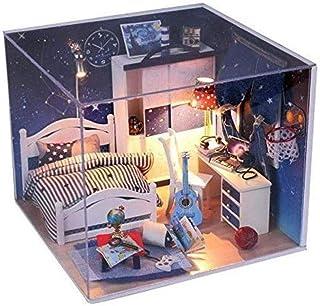 XYZMDJ Dockhus miniatyr gör-det-själv hus kit kreativt rum med möbler för romantisk gåva