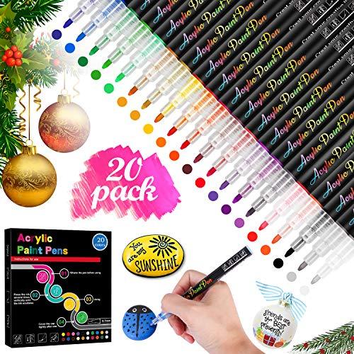 RATEL 0.7mm Pennarelli a Vernice Acrilica, 20 Fine Colori Impermeabile Marcatore Pittura Set, Vernice Permanente Pennarelli Arte Pennarello Set per Pittura su Roccia, DIY, T-Shirt