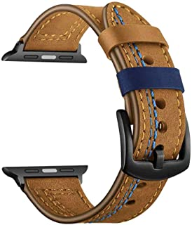 Compatible with Apple Watch Band 44mm 42mm, Genuine Leather Watch Strap Replacement for Apple Watch Series 6/5/4/SE/3/2/1 ...