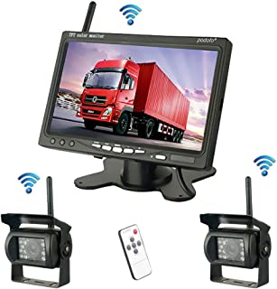 Podofo Wireless Vehicle 2 x Backup Cameras Parking Assistance System Ir Night Vision Waterproof Rear View Camera + 7' Monitor for RV Truck Trailer Bus