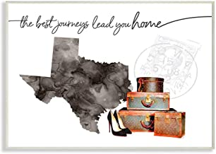 Stupell Industries Texas State The Best Journeys Lead You Home Fashion Shoes and Luggage Illustration Wall Plaque Art by A...