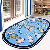 Ustide Kinder-Teppich mit Zahlen und Farben, pädagogisch, Vorleger 5'x7' Oval bär
