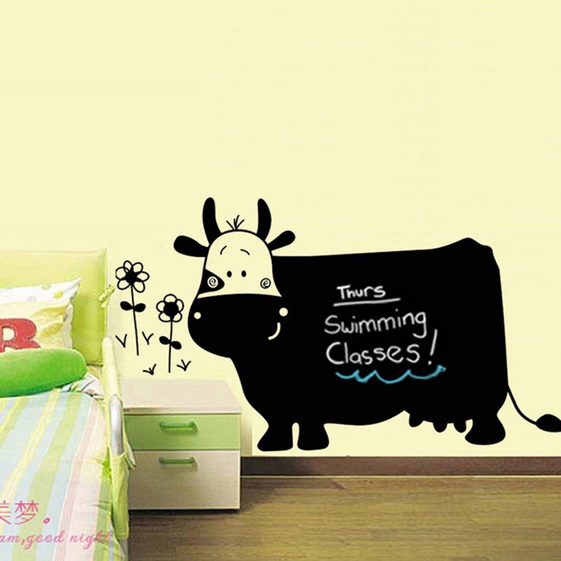Negro Vaca Flores escritura pizarra adhesivo decorativo para pared casa de vinilo extraíble papel pintado de