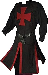 Mens Halloween Medieval Crusader Knights Templar Surcoat Cloak Renaissance Warrior Cosplay Costumes Robe