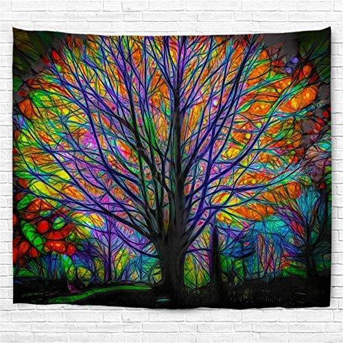Amknn Tapeten, dekorativ, Wandteppich, Baum, Bunt, Wandteppich, Psychedelik, Mandala, Bohemian, Dekoration Wohnzimmer oder Schlafzimmer
