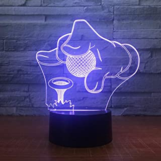 JFSJDF Golf Tournament 3D 7 Color Lamp Visual Led Night Lights for Kids Touch USB Table Lamp Baby Sleeping Nightlight