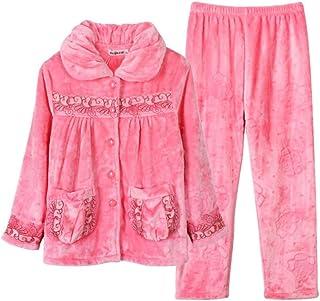 Fashion Ladies Coral Fleece Pijama Set Winter Thicken Warm Homewear Ropa Pijamas Manga Larga Cómodo Pijamas Suaves y esponjosos para Dormir