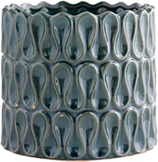 Little Green House Blue Ceramic Round Decorative Vase - XL