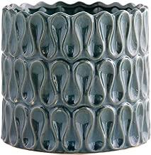 Little Green House Blue Ceramic Round Decorative Vase - XL