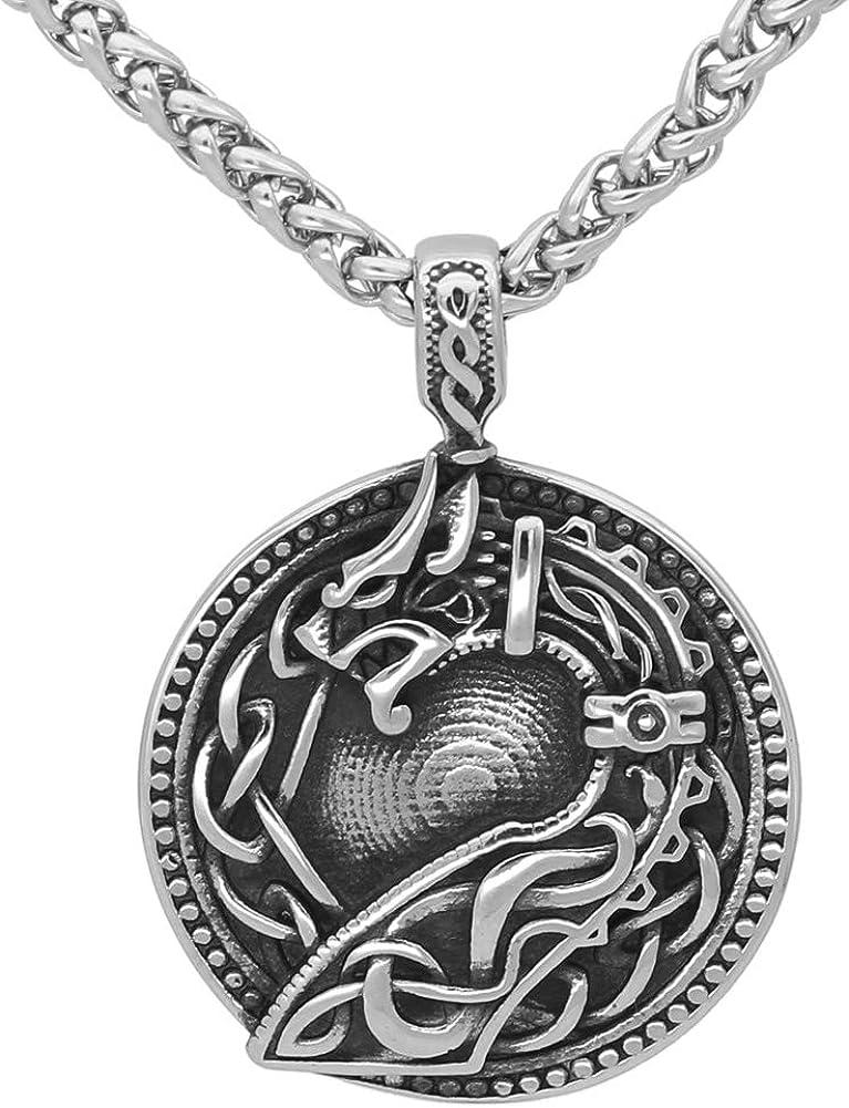 GuoShuang Nordic Viking amulet drgon dreki Jormungand Knot pendant necklace stainless steel with valknut rune gift bag