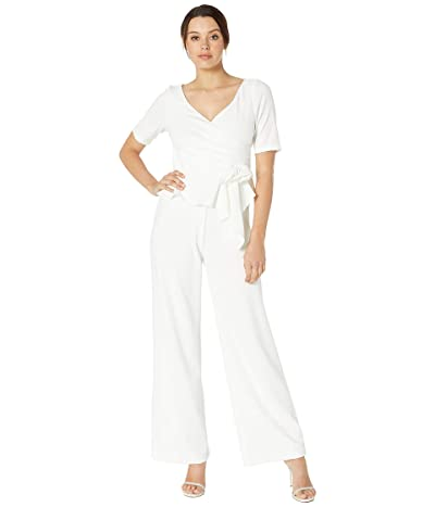 Adrianna Papell Crepe Jumpsuit with Draped Flower Applique (Ivory) Women