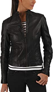 DOLLY LAMB Women's Lambskin Leather Moto Biker Jacket - Winter Wear - Round Neck Collar