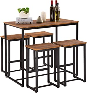 Bonnlo Pub Table Set 5 Pieces Bar Height Table with 4 Bar...